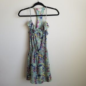 Parker 100% silk gray floral sun dress
